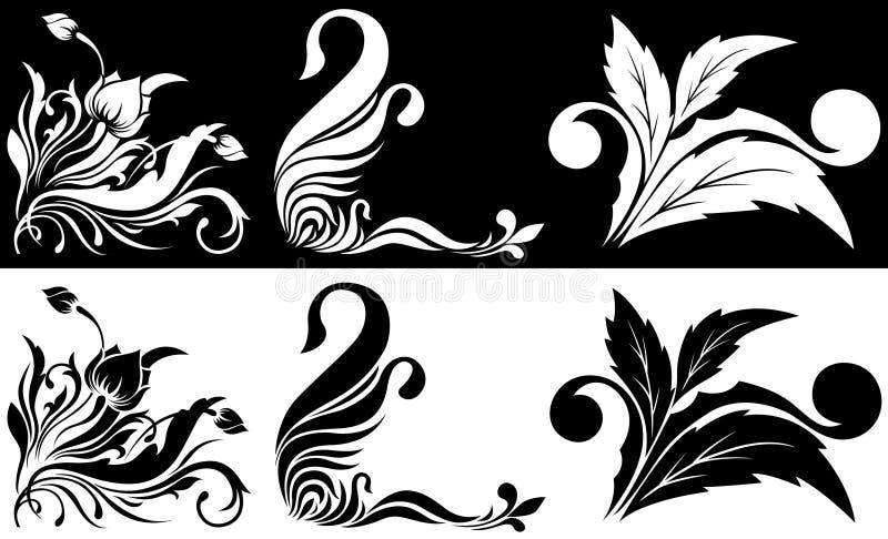 vinkelformig svart blommamodellwhite vektor illustrationer