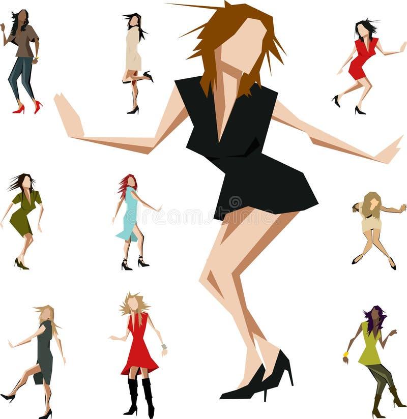 vinkelformiga dansare royaltyfri illustrationer