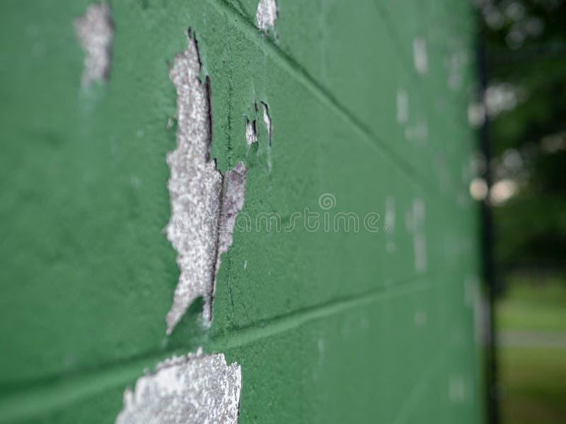 Vinkelsikt av målarfärg som skalar av av den gröna väggen i det fria royaltyfria foton