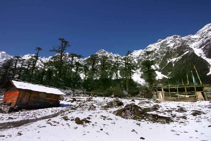 vinkelskönhethimalaya sceniskt som ultra wide visas royaltyfri foto