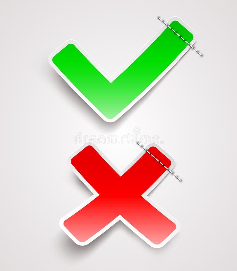 Vinkje en dwarsdocument tekens vector illustratie