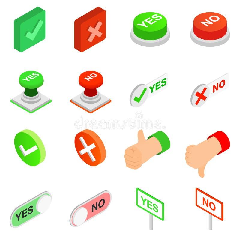 Vinkje ja en Geen geplaatste pictogrammen vector illustratie
