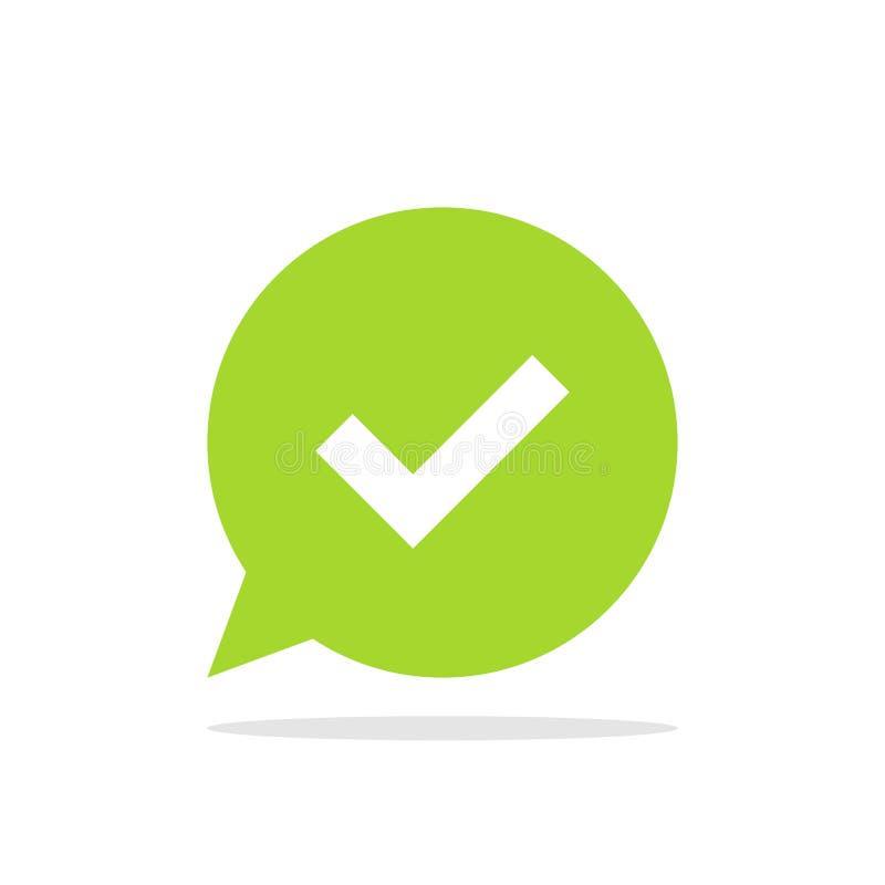 Vinkje op achtergrond van groene toespraakbel Bevestiging of toestemmingssymbool Vectordieillustratie op wit wordt geïsoleerd stock illustratie