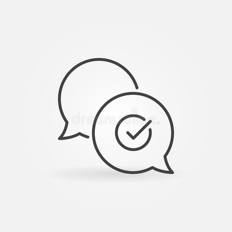 Vinkje in toespraak-bel vectoroverzichtspictogram stock illustratie