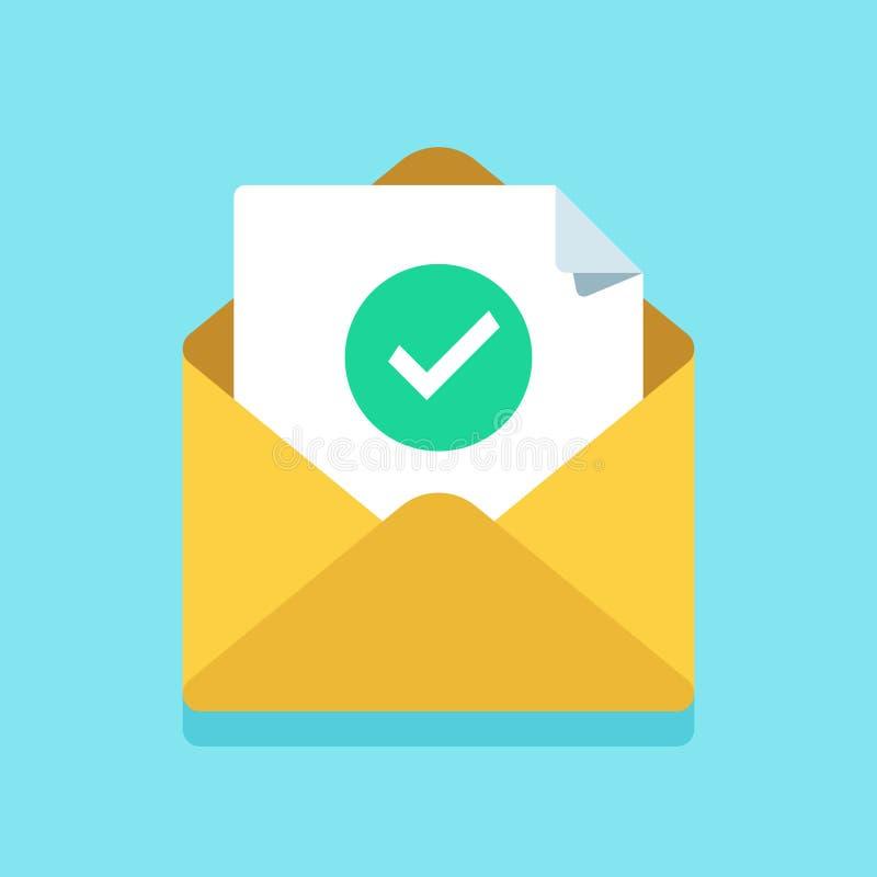 Vinkjedocument in postenvelop Goedgekeurde tikteller, toegelaten die of op brief wordt gecontroleerd Bevestigingse-mail bericht stock illustratie