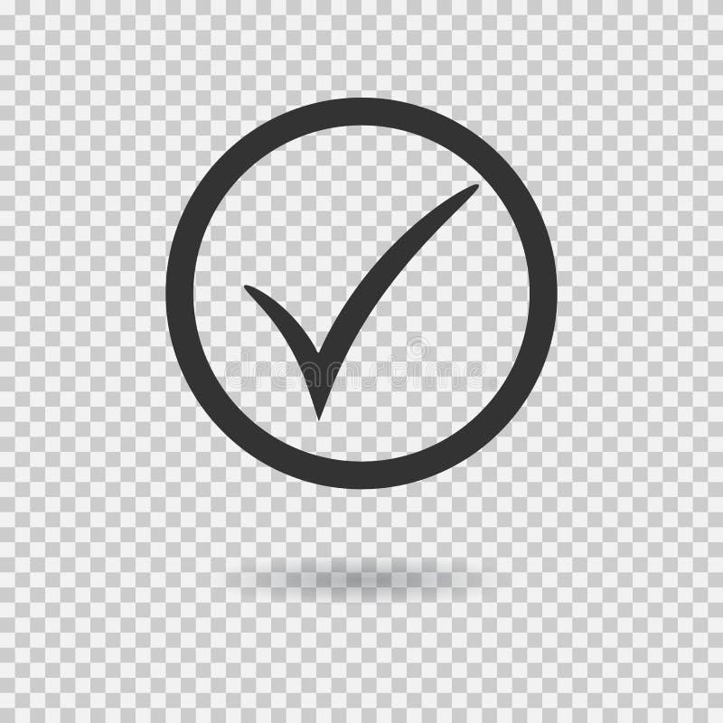 Vinkjepictogram Vectorcontroletekenknoop met cirkel Tiksymbool stock illustratie
