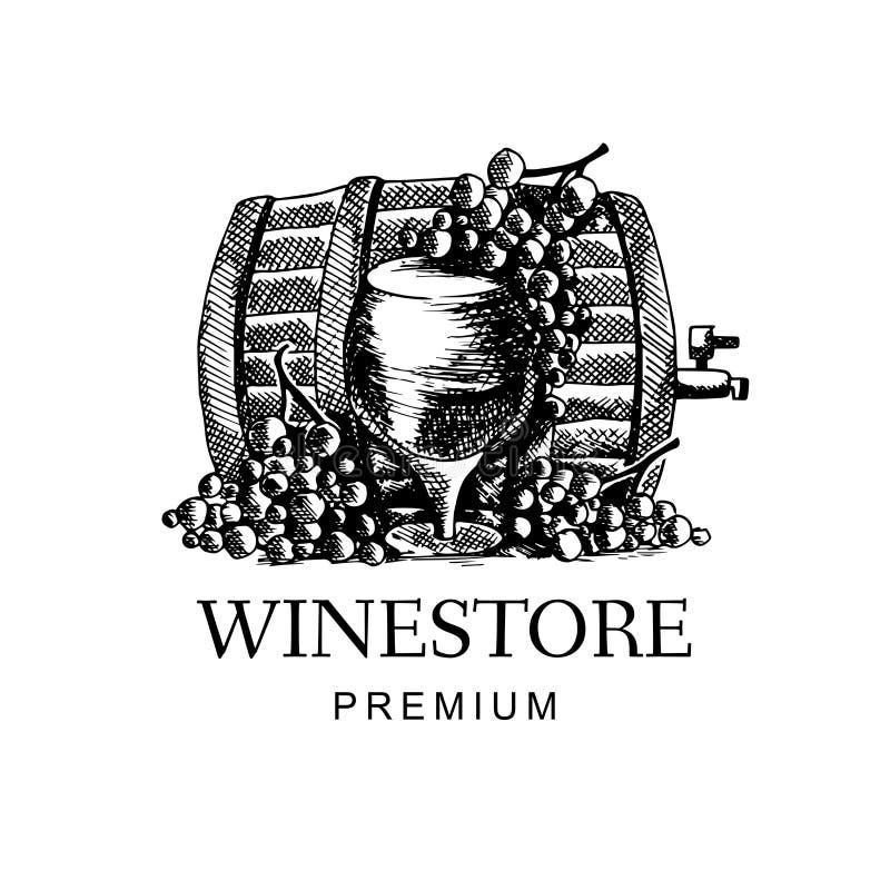 Vinlogo med druvan och vinfatet i utdragen stil för hand Duva som symbol av f?r?lskelse, pease royaltyfri bild