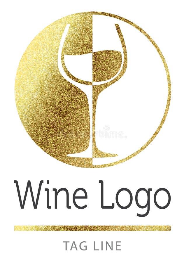 Vinlogoen i goldlogoen, symbolen, sken, gnistrandet, bakgrund, isolerat som är guld-, blänker, guld, glöd, vektorn, vit, stil, fö vektor illustrationer