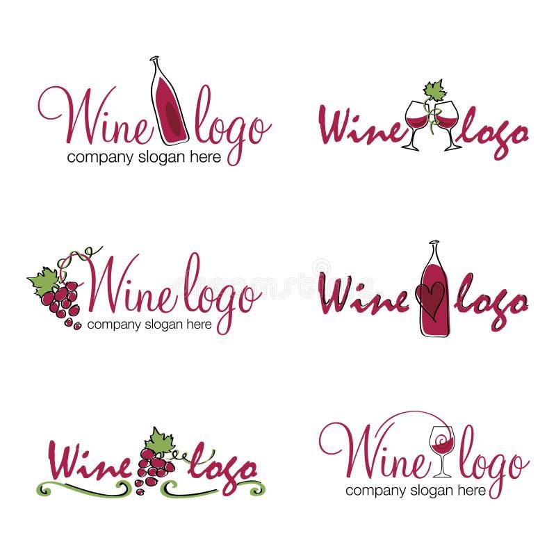 Vinlogoer royaltyfri illustrationer