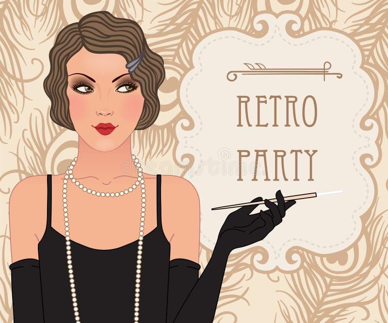 Vinmeisje: Retro ontwerp van de partijuitnodiging vector illustratie