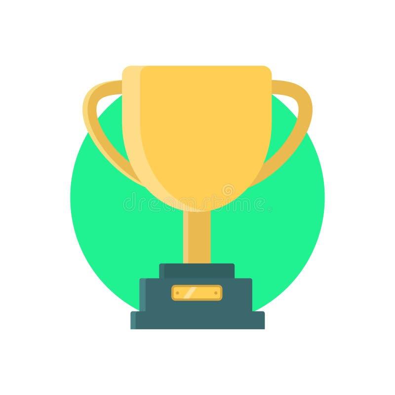 Vinnande kopp för trofé Guld- kopp på den gröna bakgrunden gears symbolen royaltyfri illustrationer