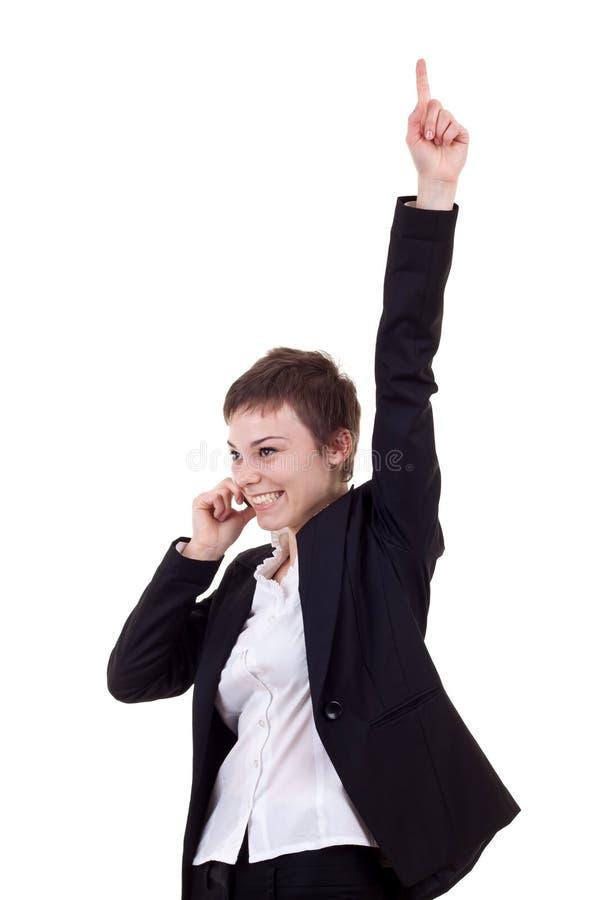 vinnande kvinna för affärstelefon royaltyfri foto