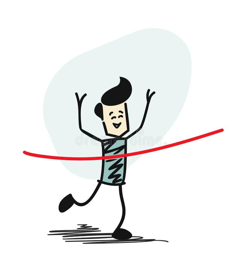 Vinnande lopp för framgångman och komma först att avsluta det röda bandet vektor illustrationer