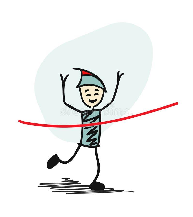 Vinnande lopp för framgångman och komma först att avsluta det röda bandet stock illustrationer