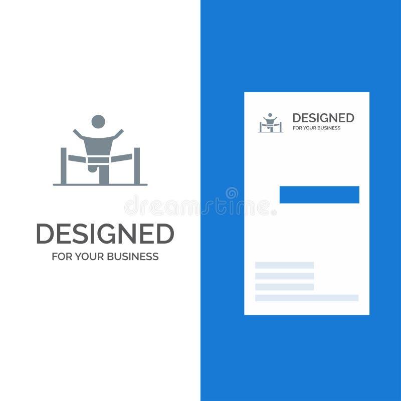 Vinnare, affär, fullföljande, ledare, ledarskap, man, lopp Grey Logo Design och mall för affärskort royaltyfri illustrationer