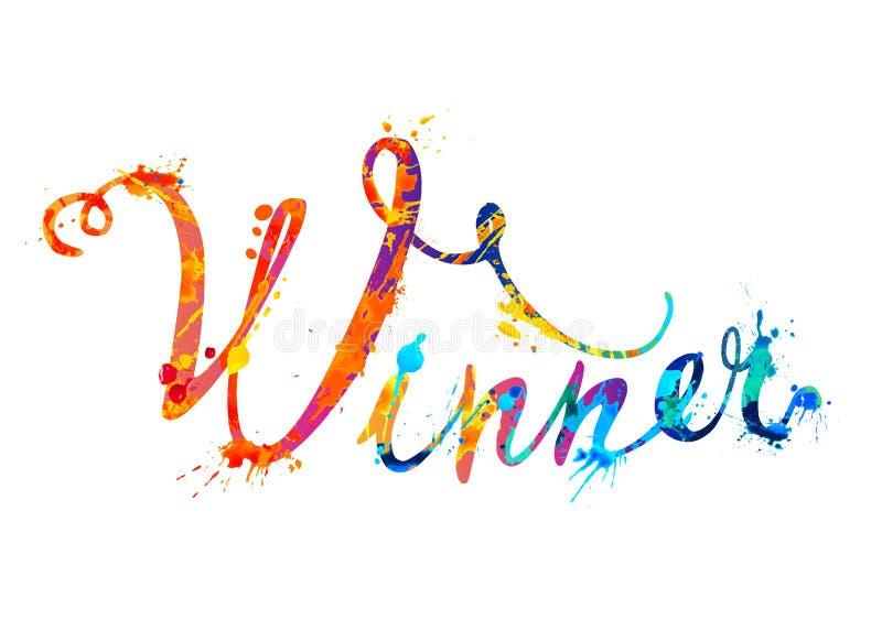 Vinnare Calligraphic ord av färgstänkmålarfärg stock illustrationer