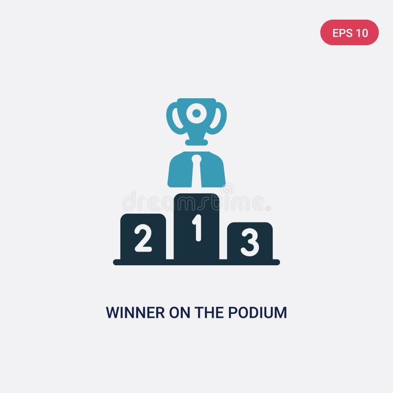 Vinnare för två färg på podiumvektorsymbolen från produktivitetsbegrepp den isolerade blåa vinnaren på symbolet för podiumvektort stock illustrationer
