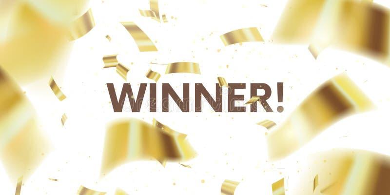 Vinnare H?lsningkort med guld- konfettier glitter Vektorillustrationen av fallande skinande konfettier blänker isolerat på genoms royaltyfri illustrationer