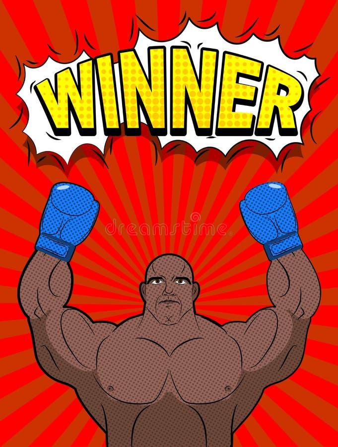 Vinnare i stil av popkonst Bärande blått för afrikansk amerikanboxare royaltyfri illustrationer