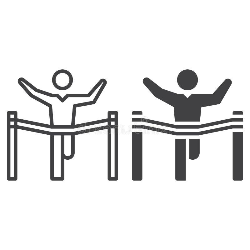 Vinnare, ledarelinje och fast symbol, översikt och fylld pictogram för tecken för vektor som linjär och full, isoleras på vit royaltyfri illustrationer
