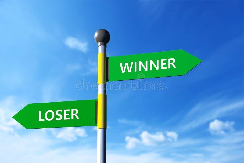 Vinnare och förlorare stock illustrationer
