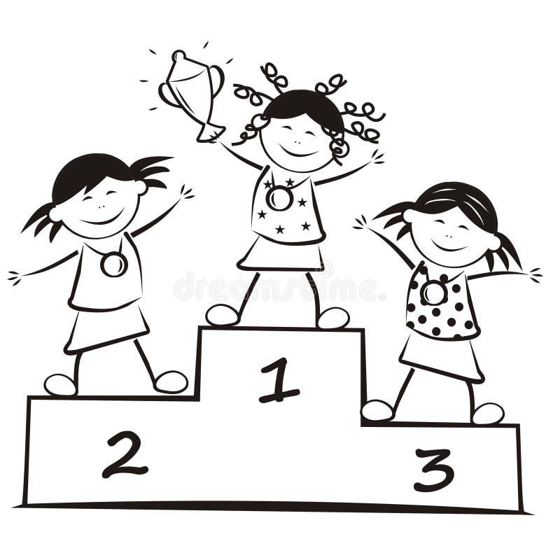 Vinnare på podiet, färgläggningbok stock illustrationer