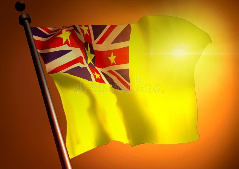 Vinnare som vinkar den niuiska flaggan royaltyfri illustrationer