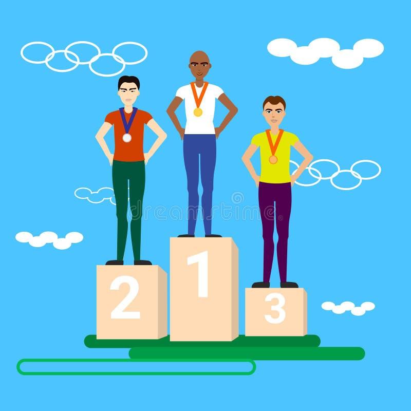 Vinnare tilldelar tre idrottsman nen som står på belöningpodiet som får medaljer royaltyfri illustrationer