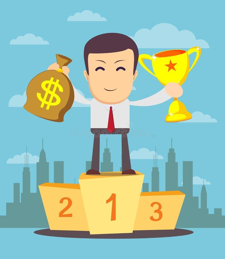 Vinnarekopp och pengar för affärsman hållande royaltyfri illustrationer