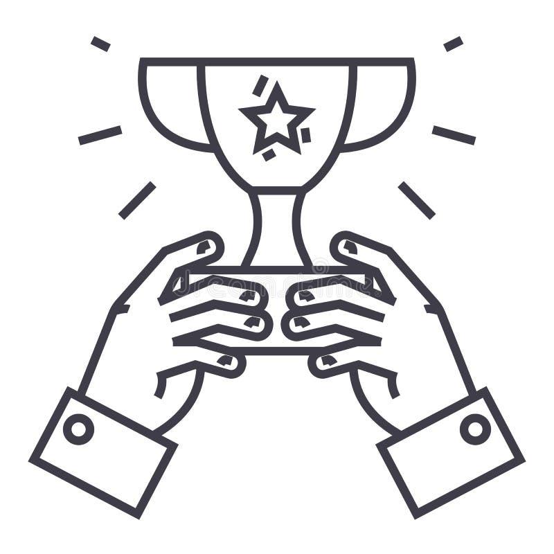 Vinnarekopp, trofé i händer, linje symbol, tecken, illustration för mästaresegervektor på bakgrund, redigerbara slaglängder royaltyfri illustrationer
