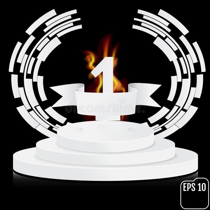 Vinnaren numrerar en bakgrund med det vit bandet och brand, techno stock illustrationer