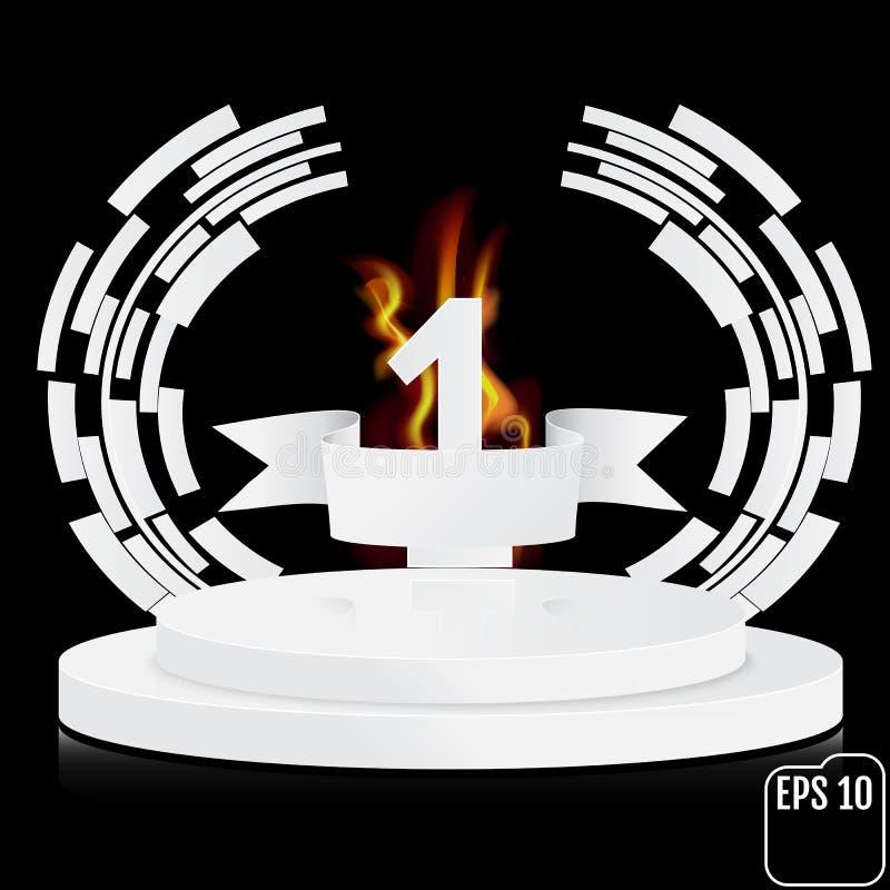 Vinnaren numrerar en bakgrund med det vit bandet och brand, techno royaltyfri illustrationer