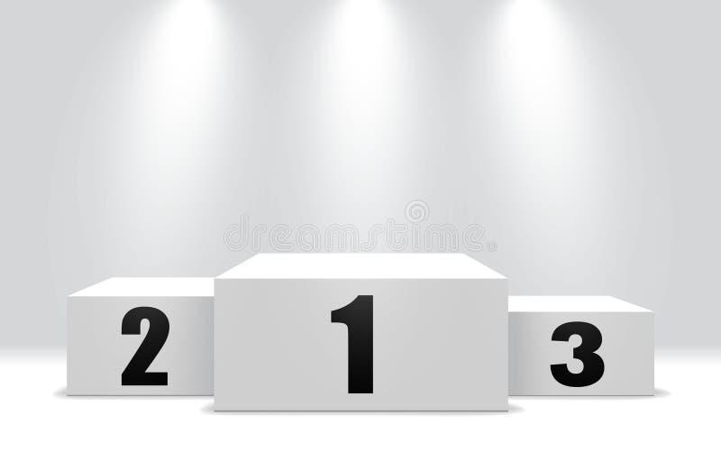 Vinnarepodium med ställning 3 Vit sockel för seger av den första, andra och tredje etappen Vinnaresockel med strålkastaren vektor stock illustrationer