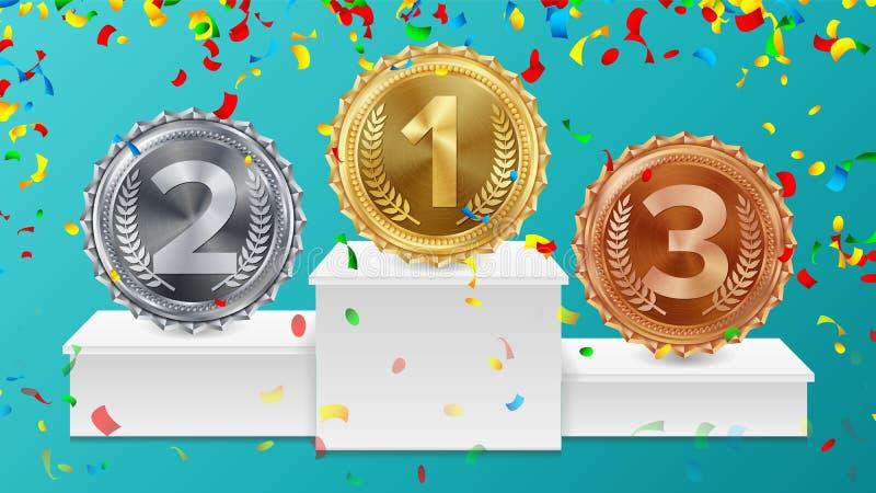 Vinnaresockel med guld, silver, bronsmedaljvektor Vitt vinnarepodium Nummer ett… Rött band, Olive Branch vektor illustrationer