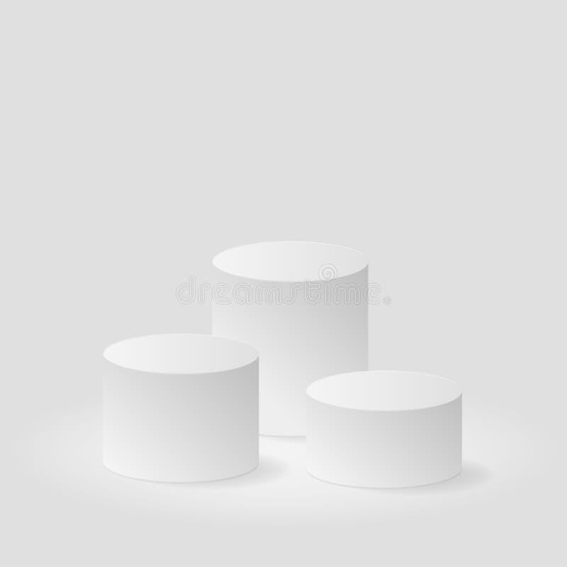 Vinnaresockel på grå bakgrundsvektorbakgrund vektor illustrationer
