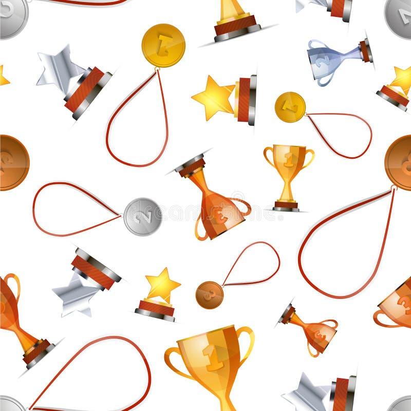 Vinnareutmärkelser med medaljer, koppar och stjärnor på vit, sömlös modell vektor illustrationer