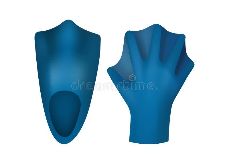 Vinnen en handschoenen voor het zwemmen vector illustratie