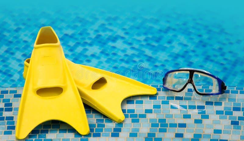 Vinnen en het duiken masker stock afbeeldingen