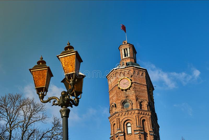 Vinnitsa, Украина - 28-ое ноября 2018: Водонапорная башня на европейском квадрате в Vinnitsia стоковые фото