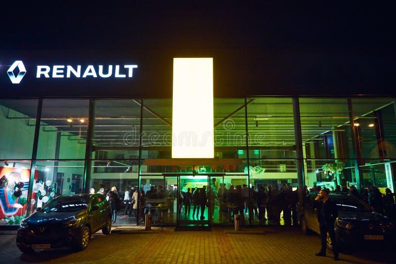 Vinnitsa Ukraina, Marzec, - 21, 2018 Renault sali wystawowej powierzchowność zdjęcie royalty free