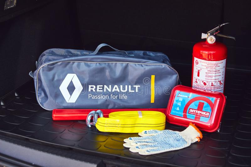 Vinnitsa, Ukraine - April 02, 2019. Renault Duster - new model presentation in showroom - emergency car tool box lying in the. Vinnitsa, Ukraine - April 02, 2019 royalty free stock image