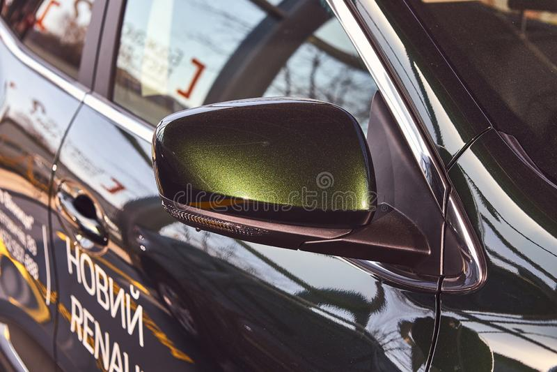 Vinnitsa, Ukraine - April 04, 2019. Renault Kadjar - new model car presentation in showroom - side mirror. Vinnitsa, Ukraine - April 04, 2019 . Renault Kadjar royalty free stock photo