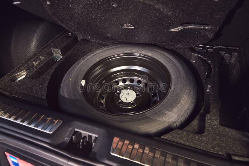 Vinnitsa, Ukraine - April 04, 2019. Renault Kadjar - new model car presentation in showroom - spare tire in the trunk. Vinnitsa, Ukraine - April 04, 2019 royalty free stock images