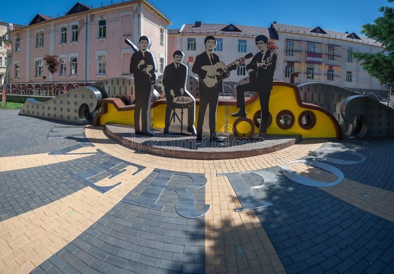 Vinnitsa, Ukraine - 28. Mai 2018 Monument zur Beatles-Gruppe lizenzfreies stockfoto