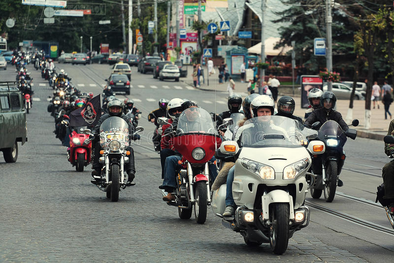 Vinnitsa,Ukraine - 26 of May,2012.Bikers group on the Vinnitsa s stock photo