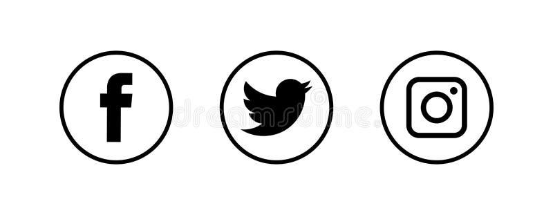 VINNYTSIA, DE OEKRAÏNE - DECEMBER 14, 2018: Een sociale die media logotype inzameling op Witboek wordt gedrukt: Facebook, Twitter stock illustratie