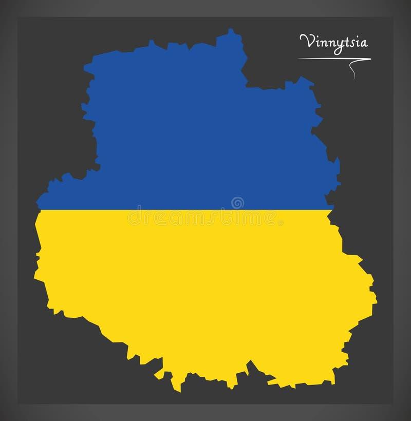Vinnytsia map of Ukraine with Ukrainian national flag illustration. Vinnytsia map of Ukraine with Ukrainian national flag stock illustration
