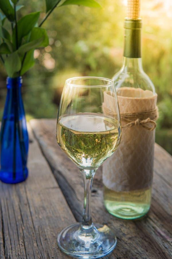 Vino bianco sul bordo di legno nel giardino fotografia stock libera da diritti