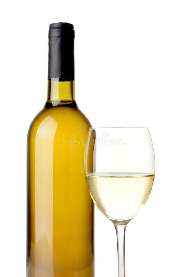 Vino blanco aislado en blanco fotografía de archivo