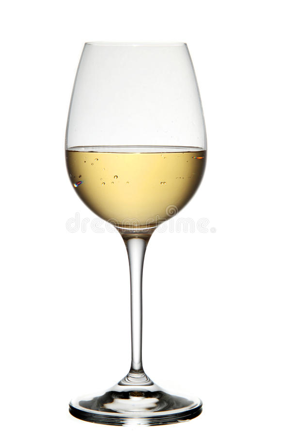 Vino blanco en vidrio imagen de archivo